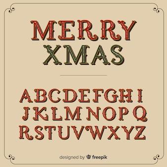 Vintage christmas alphabet illustration