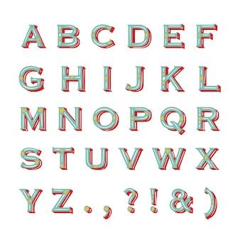 Vintage christmas alphabet on white background