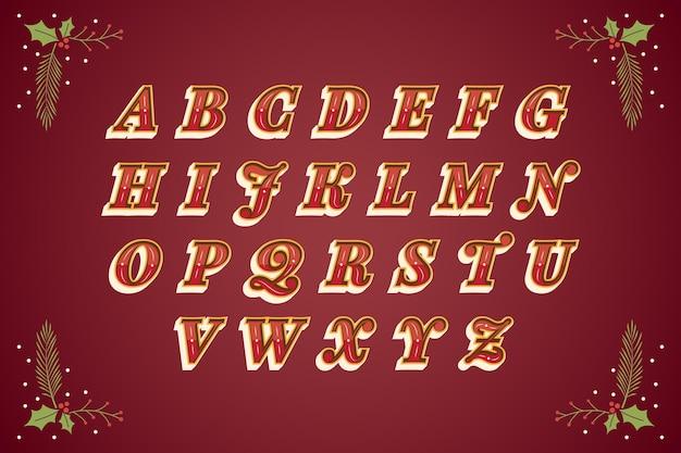 Alfabeto di natale vintage