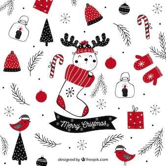 Vintage christmas background with hand drawn elements