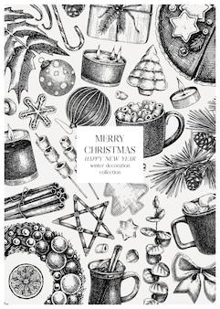 手作りの休日のイラストとヴィンテージのクリスマスの背景