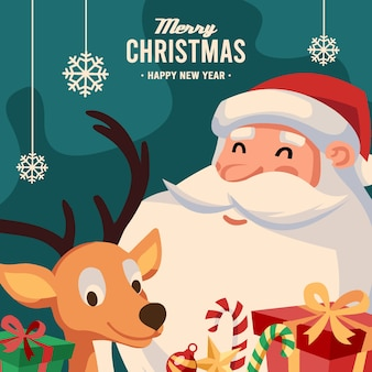 Vintage christmas background with santa and deer