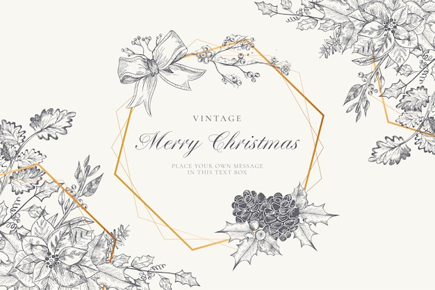 Vintage christmas background with winter nature