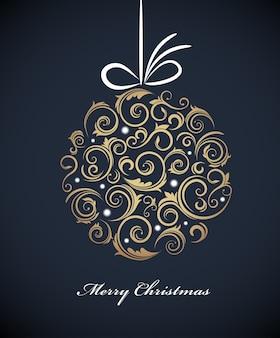 ダーツブルーの背景にレトロな装飾が施されたヴィンテージのクリスマスボール。図