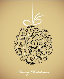 Vintage christmas ball with a retro ornament on a golden background.  illustration template