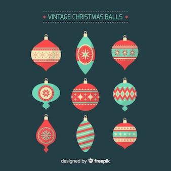 Vintage christmas balls set Free Vector