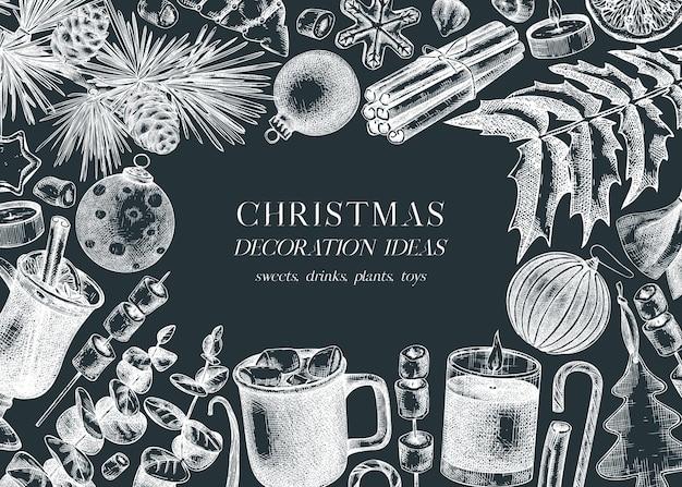 Vintage christmas banner design on chalkboard handsketched holiday background