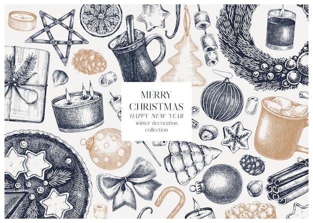 Vintage christmas banner design handsketched holiday background