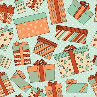 Vintage christmas or birthday seamless pattern with gift boxes.