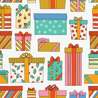 Vintage christmas or birthday seamless pattern with gift boxes