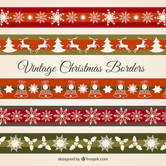 Vintage christmas borders Free Vector