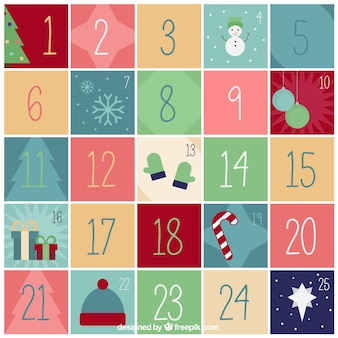 Vintage christmas calendar with nice elements