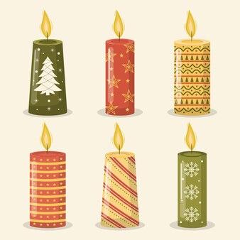 Collezione vintage di candele natalizie