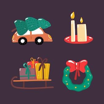 ビンテージクリスマス車、あらゆる目的のための素晴らしいデザイン。冬の要素のコレクション