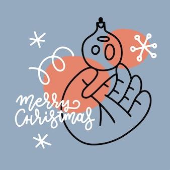 빈티지 크리스마스 카드 개념 아기 손은 크리스마스 장난감 값싼 물건을 들고 있습니다. 레터링 메리 크리스마스