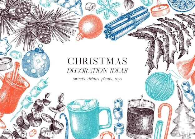 ヴィンテージのクリスマスカードまたは招待状のテンプレートクリスマスの装飾が施されたhandsketcheddesign