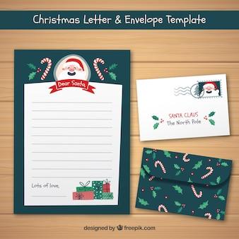 봉투와 함께 빈티지 크리스마스 카드