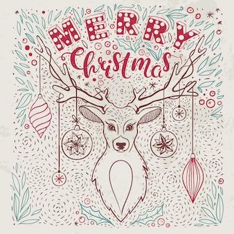 Старинная рождественская открытка с рисованной оленями и надписью векторная открытка на рождество