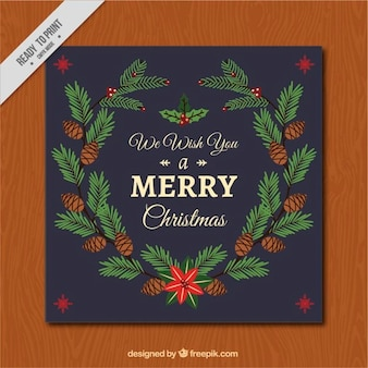 Урожай рождественская открытка с шишками