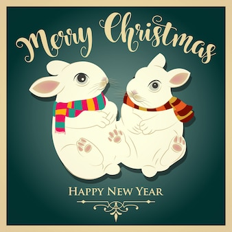 Vintage  christmas card with rabbits and message. print. vector