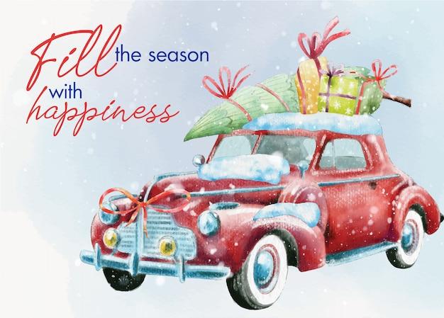 Vintage christmas card with retro car