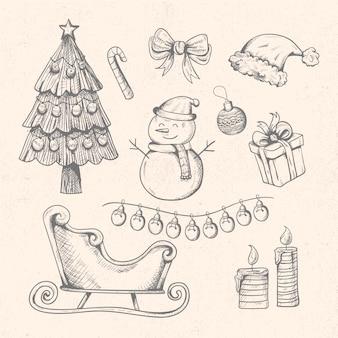 빈티지 크리스마스 요소 집합