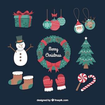 Набор старинных элементов рождественских элементов