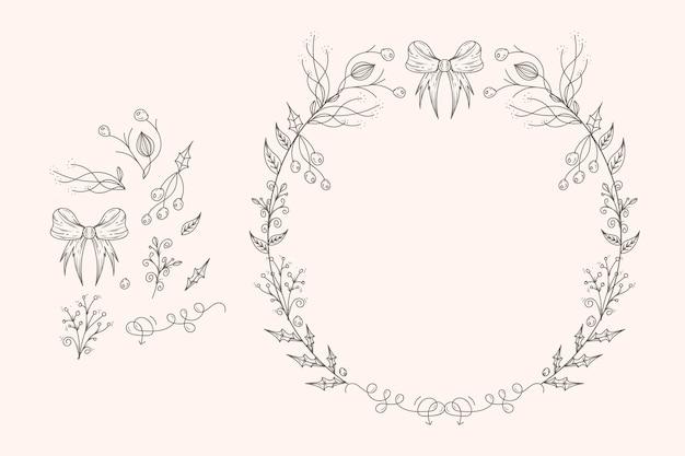 빈티지 크리스마스 꽃과 화 환 컬렉션