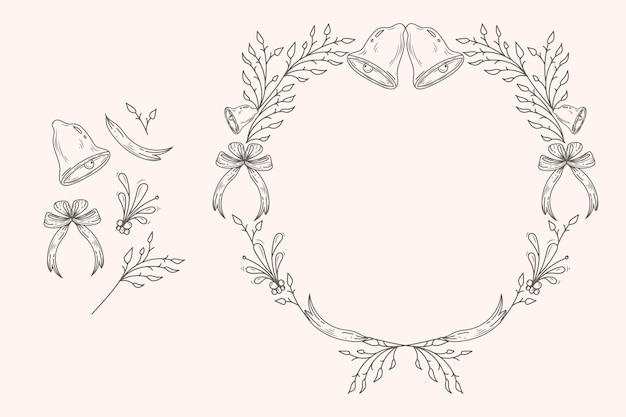 ヴィンテージのクリスマスの花と花輪のコレクション