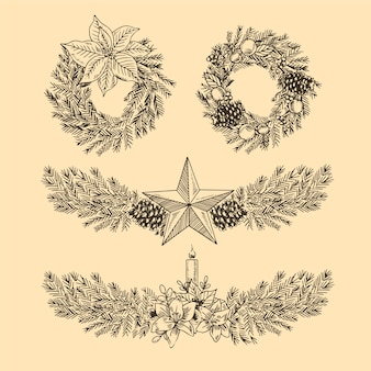Vintage christmas flower & wreath collection