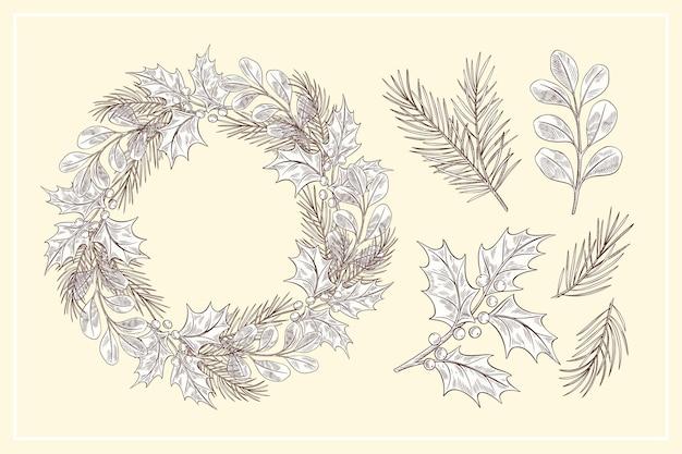 빈티지 크리스마스 꽃 & 화환 컬렉션