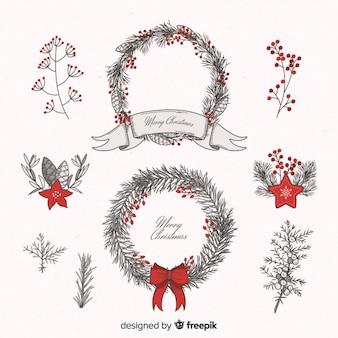 ヴィンテージクリスマスの花と花輪のコレクション