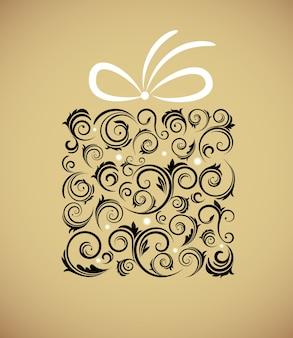 Винтажная рождественская подарочная коробка с ретро-орнаментом на золотом фоне. иллюстрация