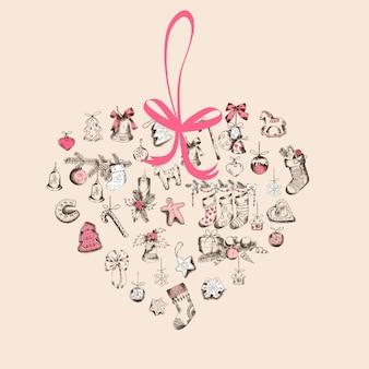 Старинная рождественская сердечная открытка