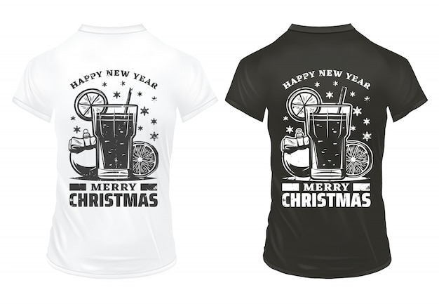 Vintage christmas holiday prints template with inscriptions cocktail lemon slice festive ball on shirts isolated