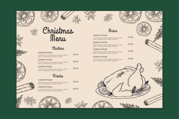 Vintage christmas horizontal menu template