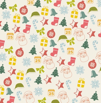 Vintage christmas icons over beige background vector illustration