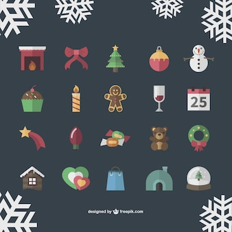 Vintage christmas icons collection Free Vector