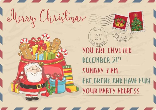 Старинные рождественские приглашения с почтовыми марками открытки