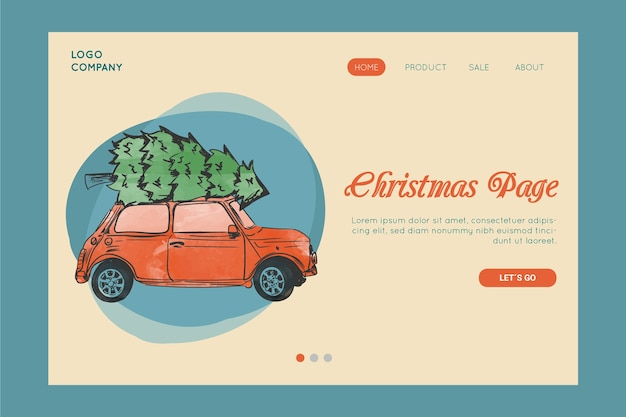 Vintage christmas landing page template