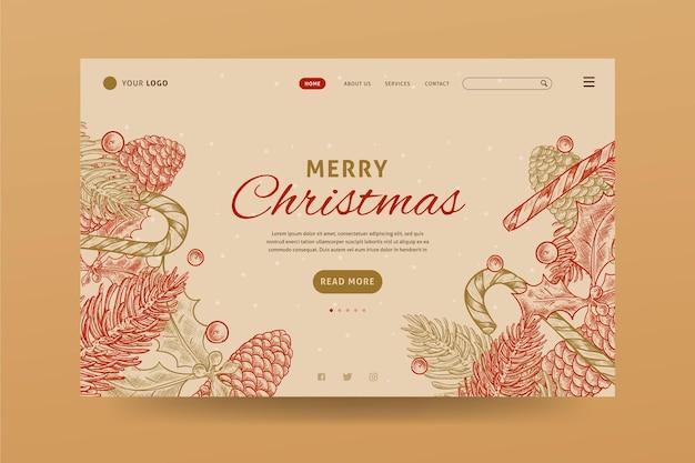 Винтажный рождественский шаблон целевой страницы
