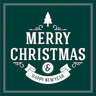 Vintage christmas lettering with happy new year message