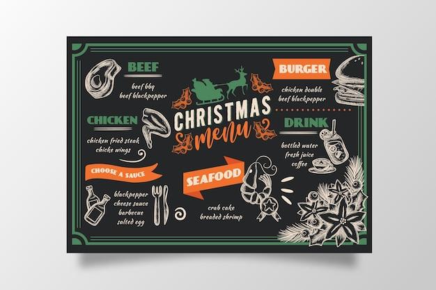 Vintage christmas menu template
