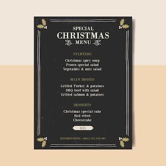 Винтажный рождественский шаблон меню