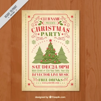 Vintage christmas party brochure with trees