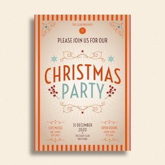 Vintage christmas party flyer template with photo