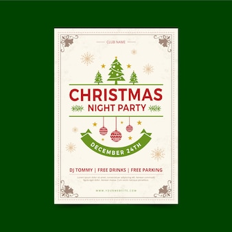 Vintage christmas party poster template