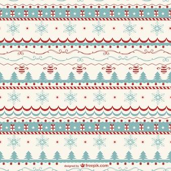 Vintage christmas pattern vector Free Vector