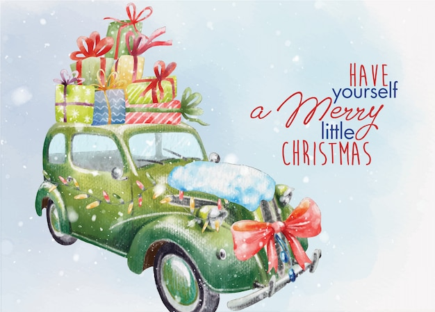 Vintage christmas postcard with decorated retro car