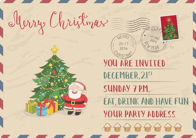 スタンプと消印のヴィンテージのクリスマスのポストカード
